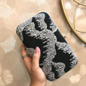 Black & Silver Sequin Clutch - BW27c