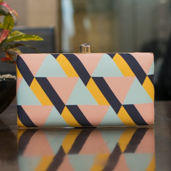 Triangle Print Rectangle Clutch