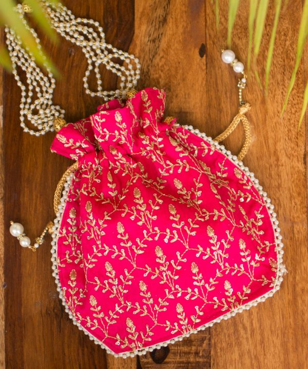 Pink & Golden Potli Bag - IL50bb