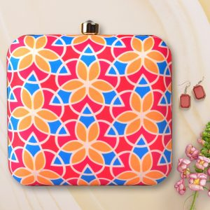 Floral Patterned Colorful Printed Clutch -IL73pc